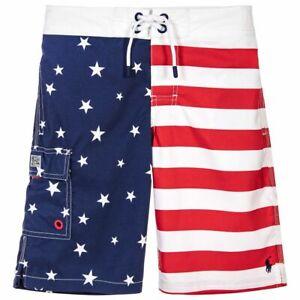 NWT Ralph Lauren Polo Big Boys USA Flag Print Swim Trunks M,L