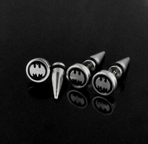 Earring Fake Spike Taper Batman Super Hero Laser Etched Ear Plug 20g