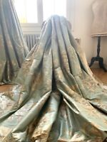LAURA ASHLEY CURTAINS SILK BLENHEIM shabby COTTAGE chic INTERLINED velvet edge