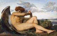 ALEXANDRE CABANEL - Fallen Angel (1868) (62x40cm), FINE CANVAS PRINT, FREE P&P