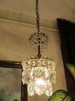 Antique VNT.FRENCH Basket style Crystal Chandelier Light Lamp Lustre 1940's