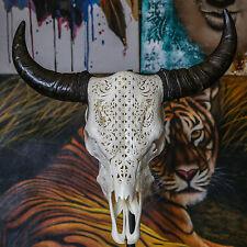 REAL HAND CARVED COW SKULL CELTIC Taxidermy Horns buffallo longhorns steer bull