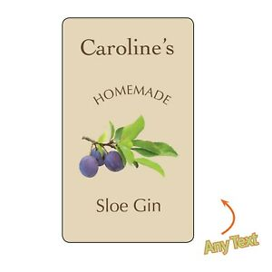 Sloe Gin BOTTLE LABELS WINE HOME MADE BREW PERSONALISED STICKERS Christmas 1185