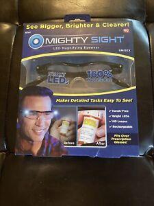 New Mighty Sight LED Magnifying Eyewear Unisex Black Frame As Seen On TV