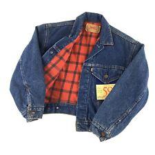 VTG Levi's Jeans Denim Trucker Jacket Plaid Lined Youth Medium Deadstock NEW