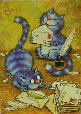 Postcard Art Blue Cats Airmail Letter Mail Postcrossing Irina Zeniuk