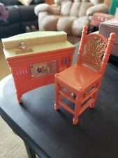 Fisher Price Loving Family Kitchen Island & Bar Stool Chair Brown Green Lot