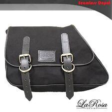 1982-2003 La Rosa Harley Sportster Eliminator Black Canvas Left Saddle Bag
