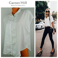 New GARNET HILL 18 1X 2X Top Tunic Shirt Blouse White Button Down Flowy Crisp dd