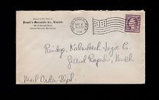 People's Mercantile Grand Haven Michigan Flag Cancel 1918 Cover 1q