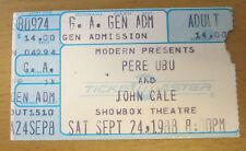 1988 Pere Ubu John Cale Seattle Concert Ticket Stub The Velvets Stooges