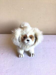 "Vtg Handmade Mink Fur Posed Realistic White Brown Puppy Dog Figurine 10""l x 5""h"