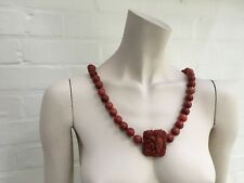 226g Heavy Long Natural Coral Pearls Necklace Sweat Rose Flower Hand carved