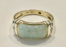 Stunning thick jade chunky 9ct yellow gold band ring size N 3.3g