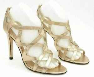 L.K. Bennett Women Strappy Sandals Alanise Size EUR 39 US 6.5-7 Gold Leather