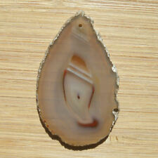 Drilled Polished Agate Crystal Slice Stone Pendant Light Gray with Brown Banding