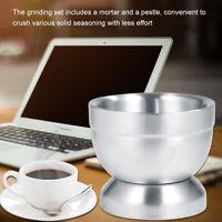Stainless Steel Mortar Pestle Set Kitchen Garlic Mix Grinding Pot Pedestal Bowl