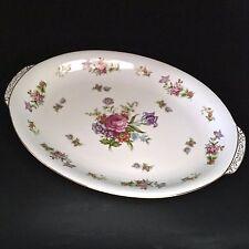Vintage Harmony House Dresdania Platter 14.25 Inch Floral Rose Gilt Edged Japan