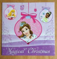 "Disney Princess Christmas Card - 5.5""x5.5"" - Belle, Tiana, Aurora - Xmas"