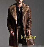 Men's winter leather fox fur coat lapel thick puffer jacket overcoat long parka