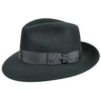 Country Gentleman Black Frederick Wide Brim Fedora Hat Men's Size M 1166