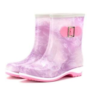 Women's Waterproof Short Rubber Mid Calf Rain Boots Anti-Skid Ankle Casual Shoes
