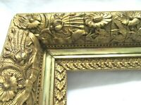 "ANTIQUE FITS 7.5"" X 16.625"" GOLD PICTURE FRAME WOOD FINE ART COUNTRY ORNATE"