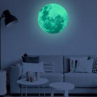 3D Mond Fluoreszierend Wandtattoo Nachtleuchtend Zimmer Wand Aufkleber