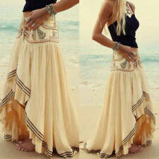 Boho Hippie Floral Chiffon Irregular Long Maxi Skirt Summer Beach Dress Sundress