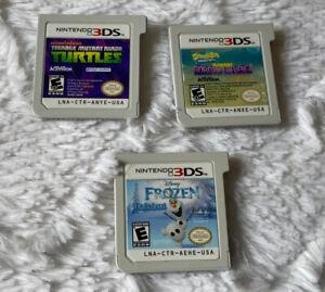 Lot of 3 Kids Nintendo 3DS Games Spongebob Turtles Frozen