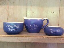 Vintage Devonmoor Potteries Blueware Sugar Bowl & Milk Jug Souvenir Sandy Bay