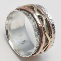 Solid 925 Sterling Silver Spinner Ring Meditation Ring Statement Ring Size SR704