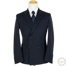NWT Zegna Navy Blue Silkco Pique Dbl Breasted Suede Accent Patch Pkt Jacket 40R