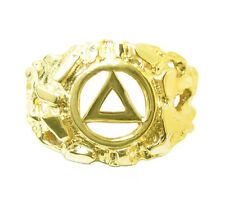 Alcoholics Anonymous #96,14k Mens Ring w/ AA Symbol in a Wide Nugget Style Sz 9,