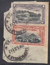 Belgian Congo 1920 Air - 1F and 50c Used - SG87 and 88 - Leopoldville (E13H)