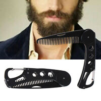 Portable Beard Comb Men Shaving Pocket Comb Male Stainless Steel Mustache Bru vd