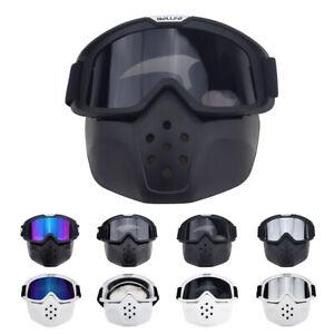 Bike Cycling Goggles Windproof Glasses Detachable Face Mask MTB BMX XC Eyewear