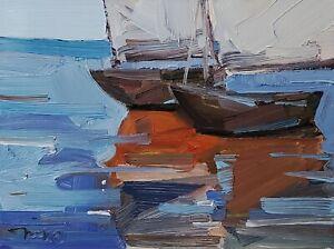 JOSE TRUJILLO Oil Painting IMPRESSIONISM CONTEMPORARY Seascape Boats COA NR