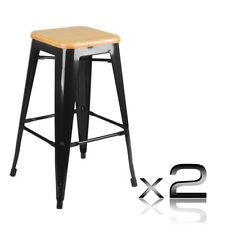 Set of 2 Replica Tolix Bar Stool Bamboo Seat Black Kitchen Dining Chair 66cm