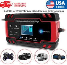 LCD Car ATV 12/24V 6-150Ah Motorcycle Pulse Repair Battery Charger AGM Automatic