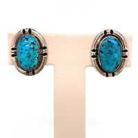 VTG Estate Navajo Sterling Silver & Turquoise Clip Back Earrings! 15