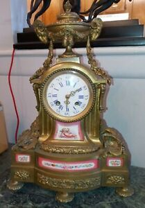 French 19th Century Sevres Bronze and Porcelain Clock
