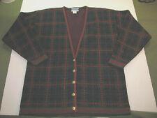Vintage Pendleton Wool Cardigan Sweater Plaid Women's Large USA