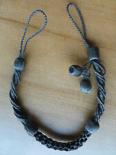 """Victorian antique mourning braided hair fob watch chain necklace dangle 14"""""""