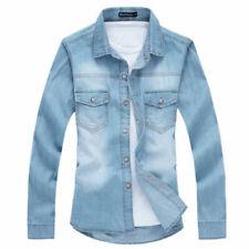 New Fashion Mens Casual Stylish Slim Fit Denim coat Light blue size XS