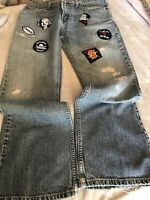 Mens 32x30 Levis 527 LOW BOOT CUT Distressed With Rock Patches.