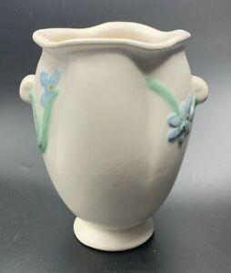 """Vintage Weller 8"""" Ivory Vase #B-5 Bouquet Pattern Blue Floral Design Ca.1930's"""