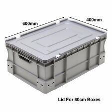 Very Strong Heavy Duty Type Stackable Plastic Euro Storage Boxes 16 Sizes Lid (600mm X 400mm)
