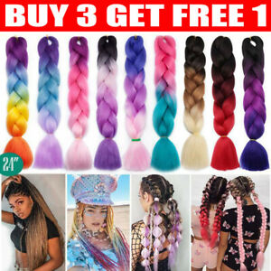 """24"""" Braiding Ombre Rainbow Jumbo Braids Hair Extensions Synthetic Any Color"""