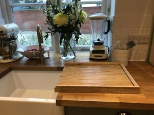Solid Oak worktop drainer for a belfast/butler sink drainer oiled finish
